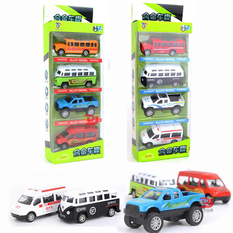 合金玩具小汽车套装模型儿童回力车救护警察车小男孩玩具车组合