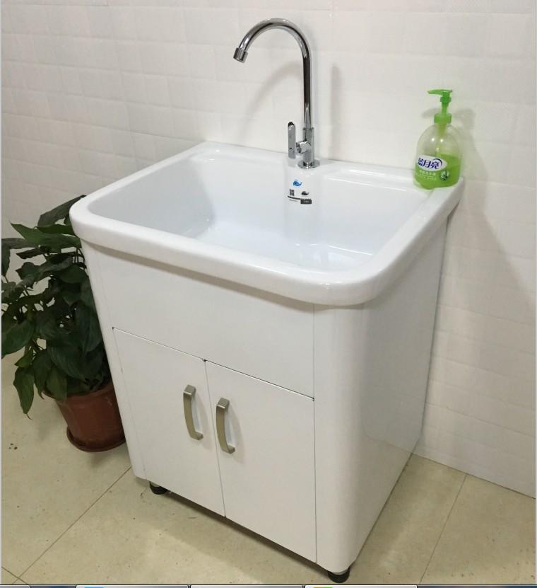 新款加厚不锈钢洗衣柜落地阳台洗衣池浴室柜陶瓷盆洗漱台水池台槽