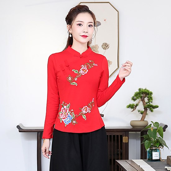 95 cotton Chinese Style Embroidered top large national style womens embroidered coil button stand collar long sleeve T-shirt