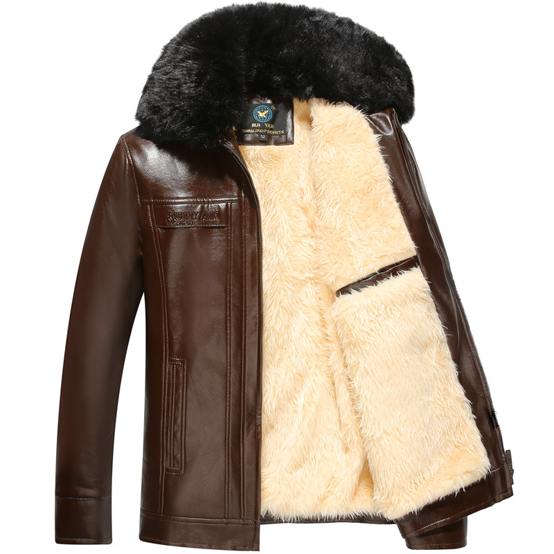 Middle aged coat with plush and thick fur collar fur coat mens winter coat middle aged fathers coat middle aged winter jacket