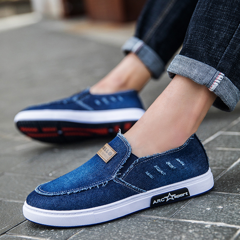 Huili canvas shoes mens lazy shoes summer mens shoes old Beijing cloth shoes Korean fashion versatile casual shoes