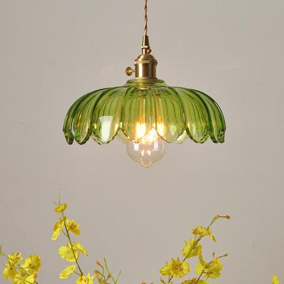 老上海民国怀旧田园灯具餐厅吧台咖啡厅纯铜绿色玻璃复古风吊灯