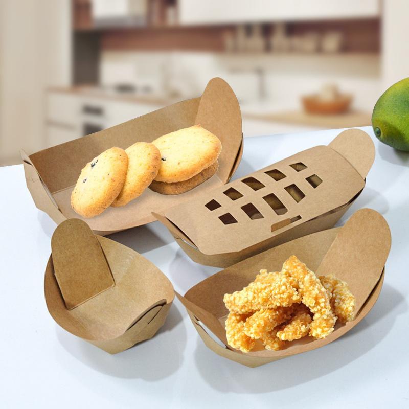 一次性牛皮纸船盒牛排小吃沙拉炸鸡薯条长海盗船小吃店专用油炸盒