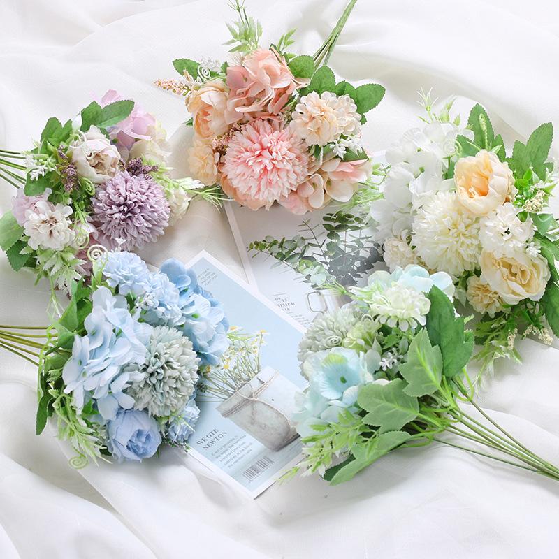 单束假花仿真花束婚庆路引花手捧花艺家居装饰花 ins玫瑰摄影摆设