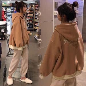 歐洲站氣質女裝洋氣時尚套裝潮秋冬閨蜜裝休閑2019新款加絨兩件套
