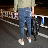 深蓝色小脚微跨九分牛仔裤韩版简约弹力铅笔裤新款百搭锥形裤男潮
