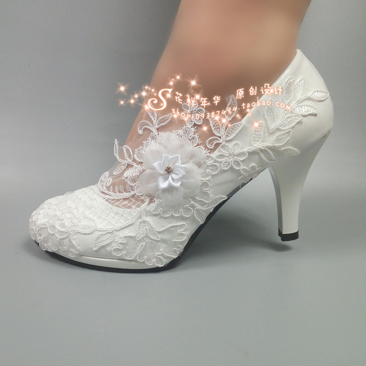 White Bride lace flower wedding shoes high heel crystal waterproof platform shallow mouth dance