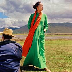 杨丽萍设计同款原创民族风盘扣褶皱高腰廓形大摆立领短袖连衣裙女