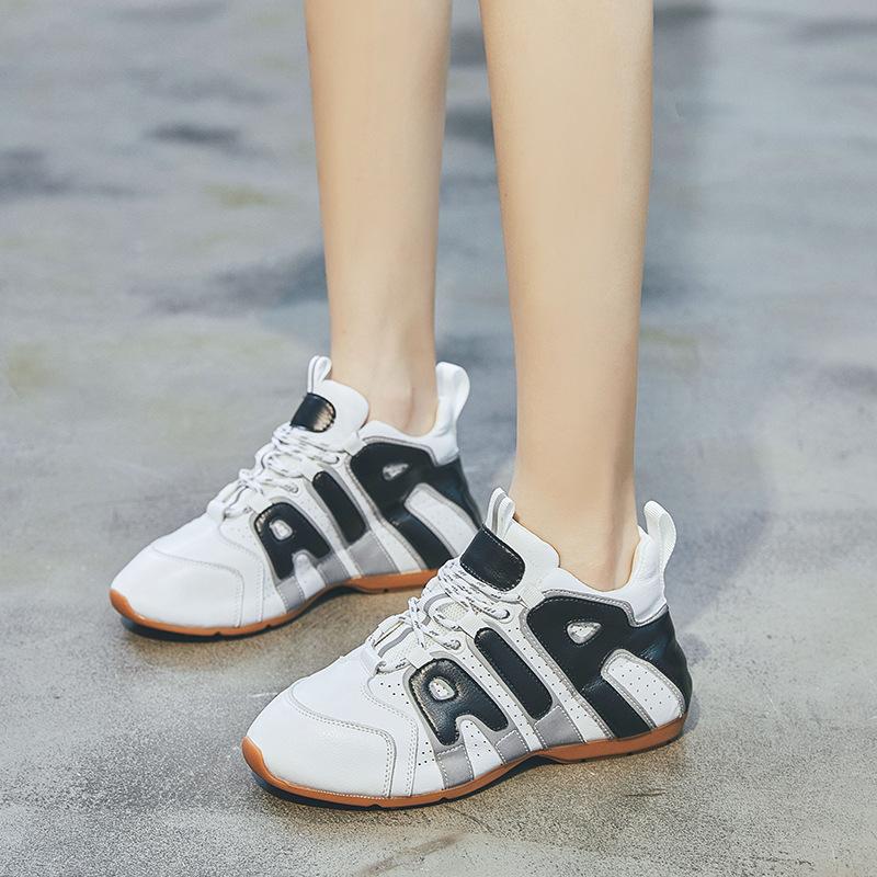 真皮学生休闲运动2020韩版春夏新款厚底平底网红百搭跑步球鞋女鞋