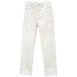 彈力小直筒褲子女米白色牛仔褲秋冬高腰顯瘦小個子八分九分煙管褲