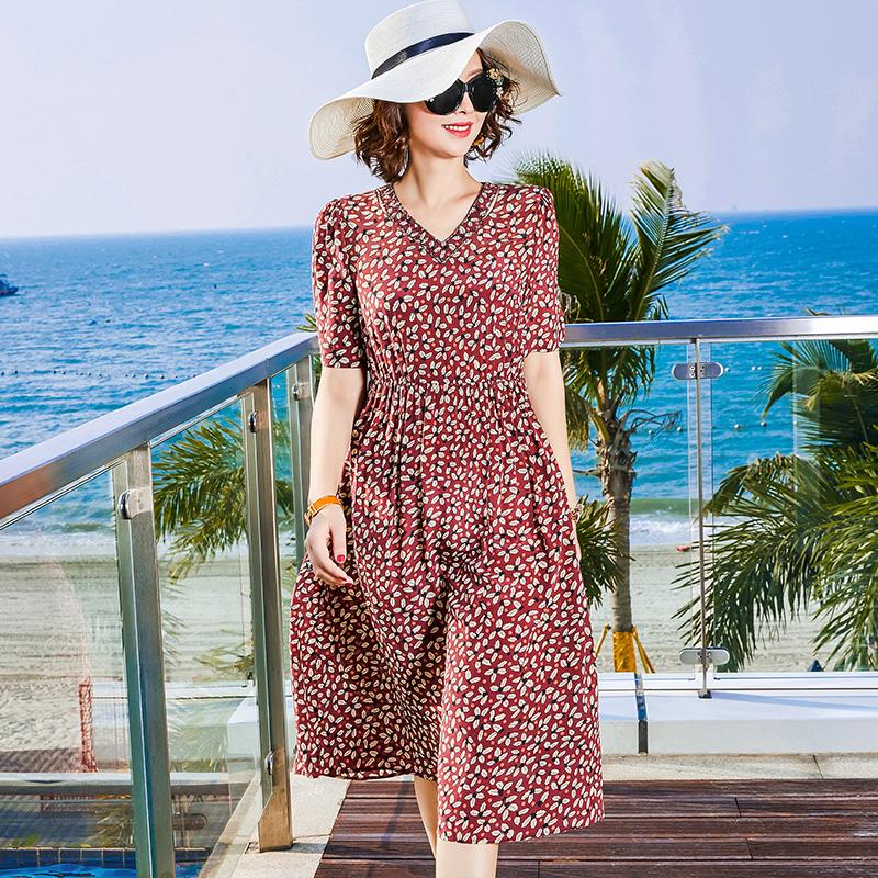 真丝桑蚕丝连衣裙碎花裙女V领短袖夏季修身显瘦海边度假沙滩裙图片