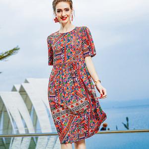 恩纳斯桑蚕丝真丝印花连衣裙女2020夏新款大牌时尚气质显瘦丝绸裙