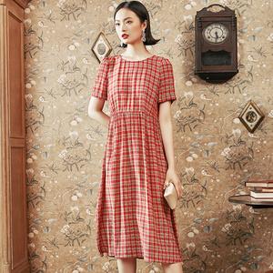 重磅真丝桑蚕丝连衣裙女短袖2020新款夏季修身中长款格子丝绸裙子