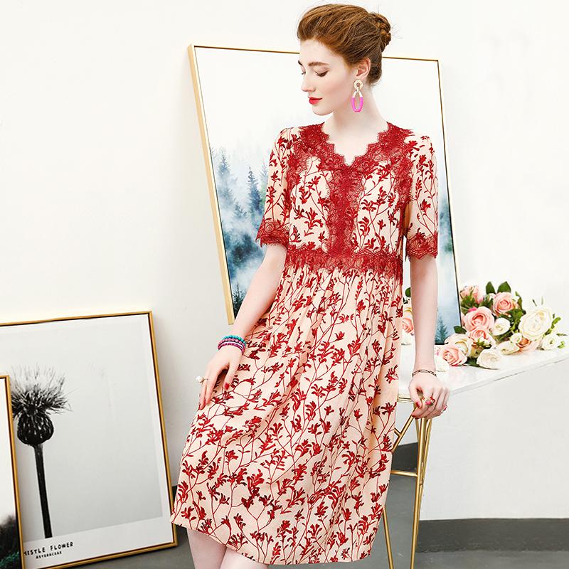 真丝连衣裙桑蚕丝春夏季女装收腰蕾丝拼接有女人味的裙子特价清仓