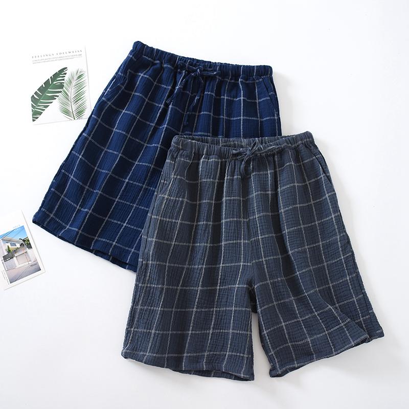 短裤男纯棉纱布双层薄款夏季格子睡裤男五分裤绉布宽松家居裤裤衩