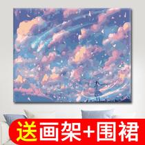 風景客廳動漫手工減壓填充數碼填色畫手繪油彩裝飾畫diy數字油畫