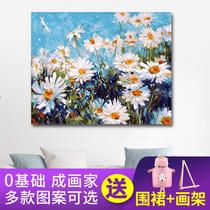 手繪填充掛畫涂色客廳臥室裝飾畫diy少女手工填色油彩畫數字油畫