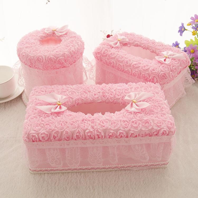 布艺家用餐巾纸抽盒简约车用创意抽纸盒可爱蕾丝客厅茶几纸巾盒