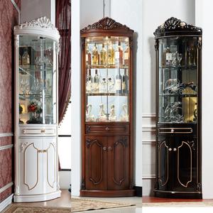 美式角柜客厅实木三角柜子弧形拐角餐边柜墙角柜欧式转角酒柜家用