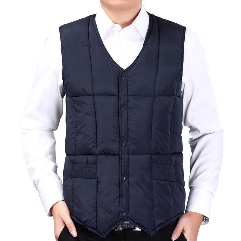 中老年男式马甲爸爸羽绒棉保暖背心短款冬季男装马夹坎肩父亲新品