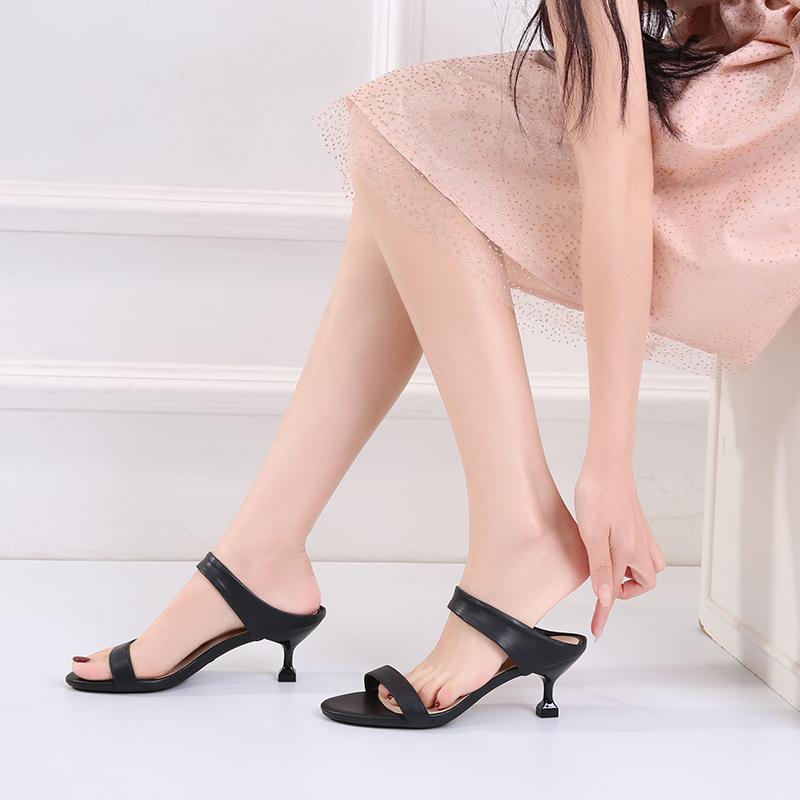 半托凉鞋女时尚细跟百搭中跟5cm2020夏季新款凉鞋低跟小跟3cm仙女图片