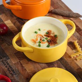 华孚纯色陶瓷蒸鸡蛋羹碗双耳带盖耐高温 炖盅水蒸蛋碗辅食碗烤碗