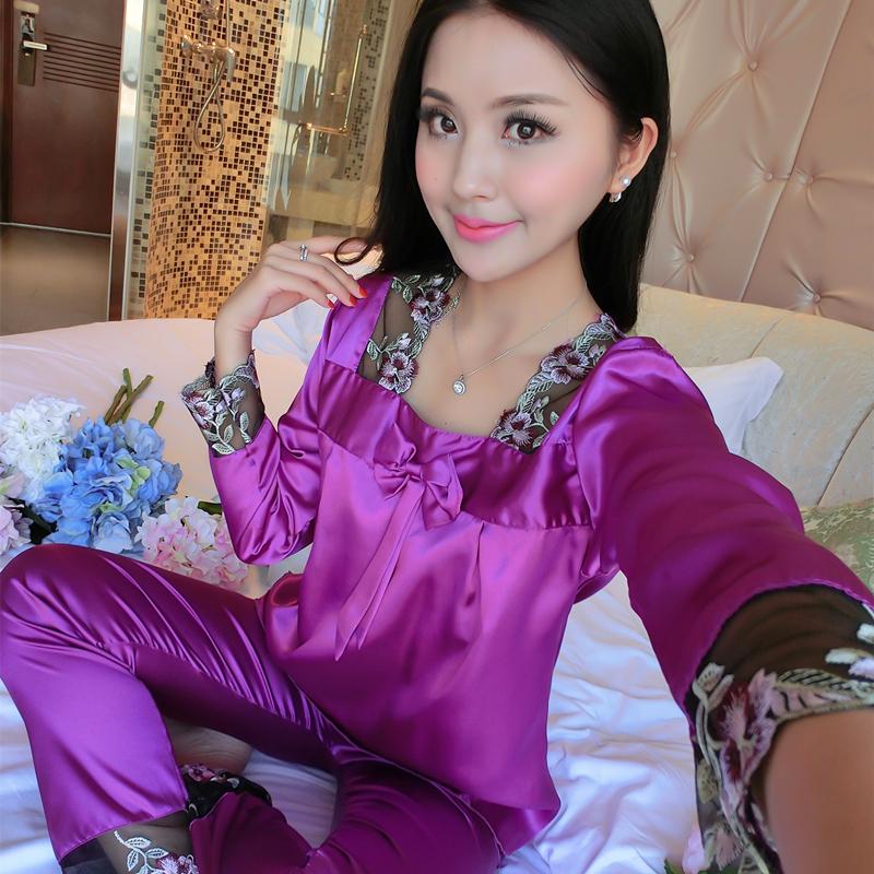 春秋薄款冰丝睡衣女士长袖冰丝蕾丝夏季性感女丝绸两件套装家居