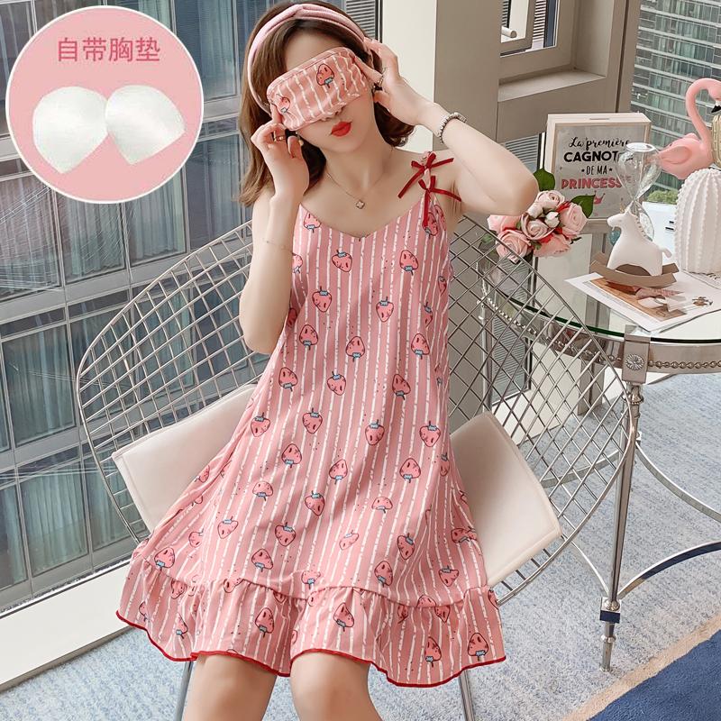 6款 150g送眼罩 带胸垫睡衣女夏韩版吊带睡裙宽松少女可爱学生家