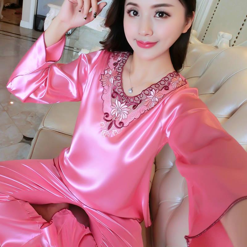 睡衣女春秋性感长袖套装女士仿真丝丝绸薄款韩版秋冬新款两件套