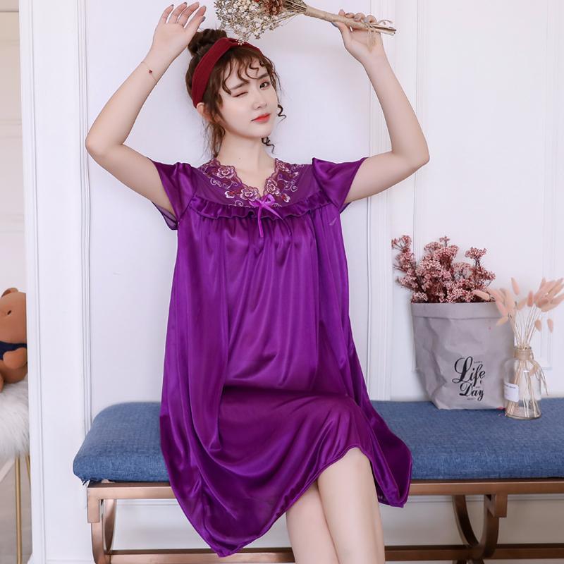 180斤可穿 5色睡衣女夏大码冰丝睡裙女夏薄款性感宽松短袖家居服