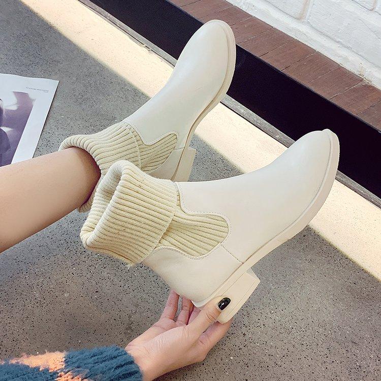 鞋子女2018新款秋冬女鞋马丁靴女中筒靴短靴瘦瘦袜子靴网红弹力靴