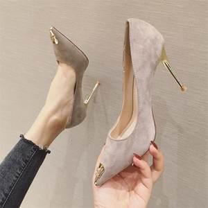 2020春季新款金属头黑色韩版高跟鞋细跟性感百搭职业女鞋尖头单鞋