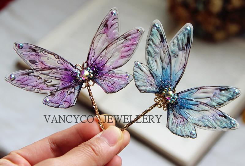 Fairy hairpin hair ornament goblin feather cicada wing edge clip Bride Bridesmaid portrait headdress Cosplay word clip