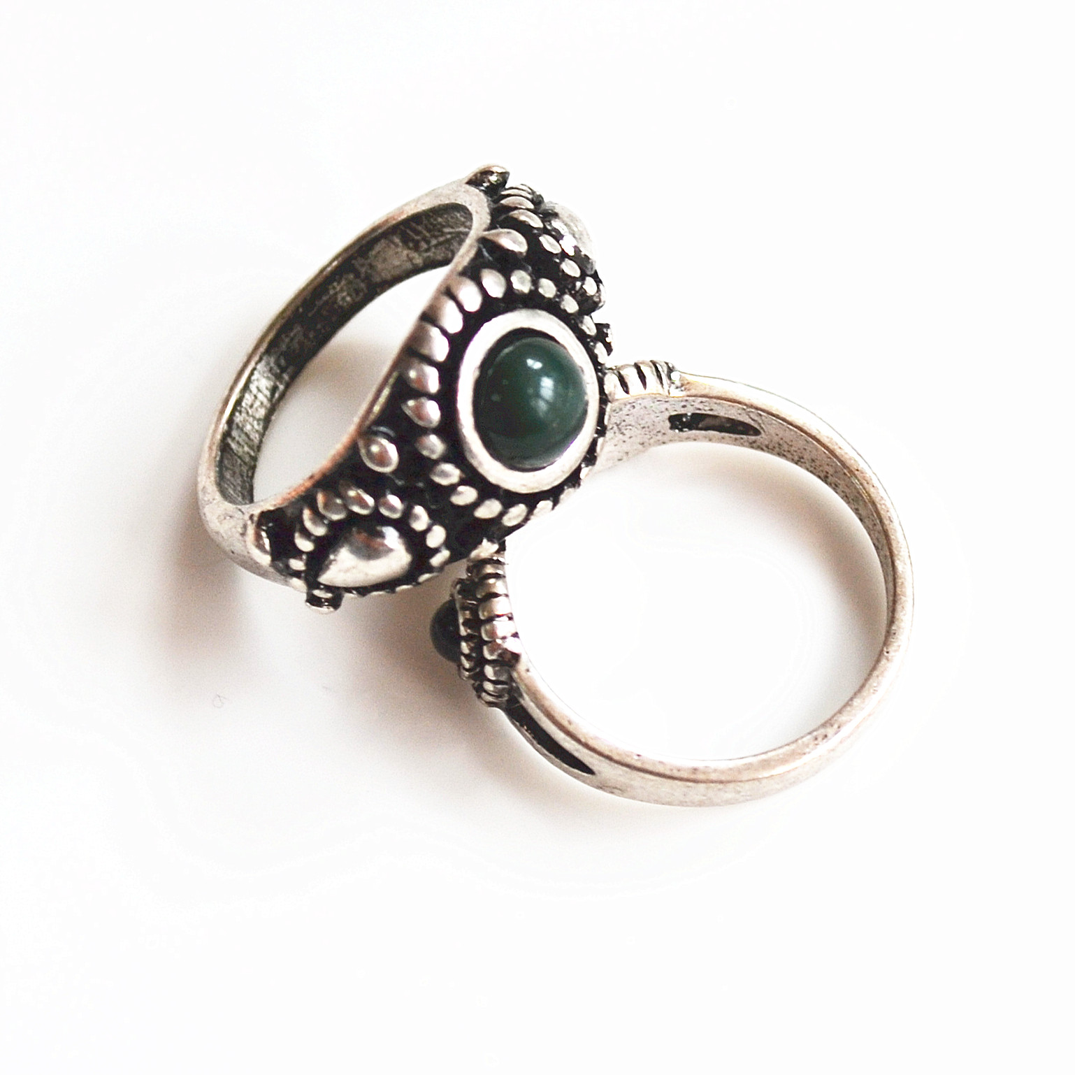 2019 new popular simple student silver plated cats-eye-stone lady ring