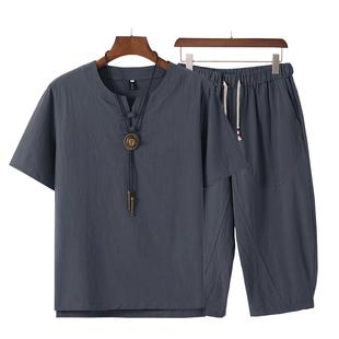 夏季新款中老年男短袖父親亞麻短套裝中年男爸爸棉麻套裝男夏裝