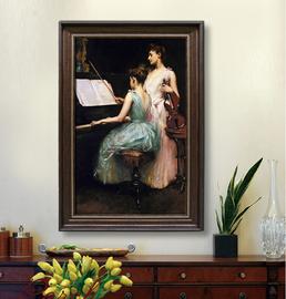 钢琴油画高清喷绘画音乐装饰画定制人物琴房琴行挂画竖幅玄关画图片
