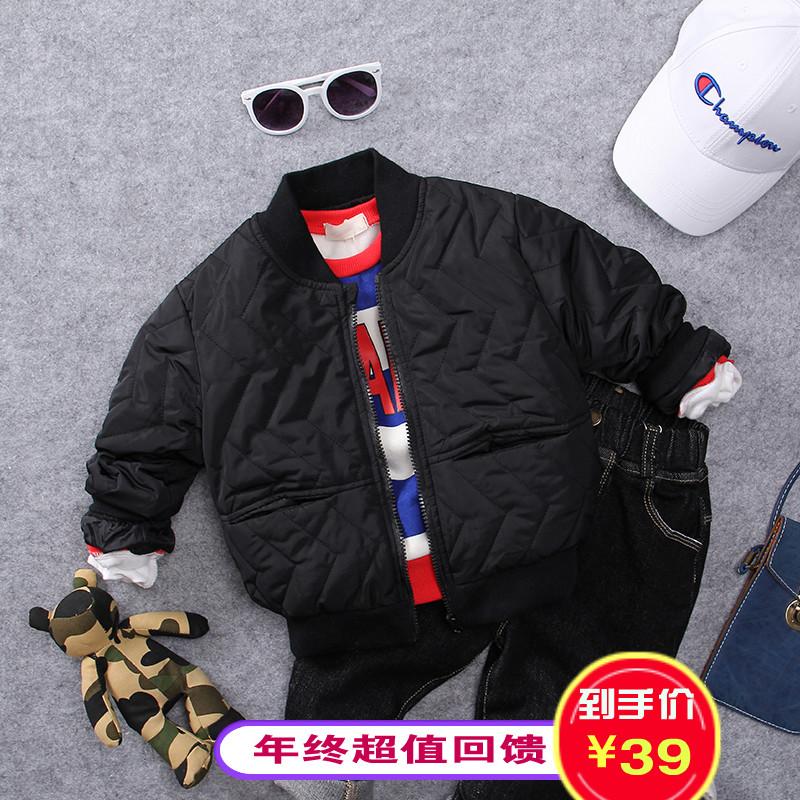 Childrens jacket autumn winter thin cotton padded jacket Korean 20 childrens clothing new boys warm cotton padded jacket solid color Baseball Jacket