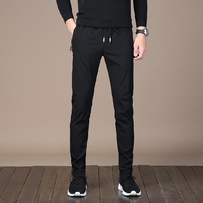 2020春季新款男士休闲裤修身宽松直筒松紧腰速干运动裤子长裤子男