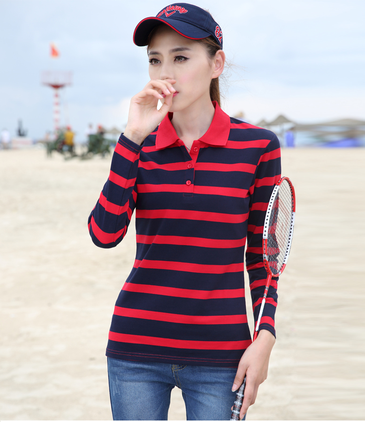 Novel mouse long sleeve womens New Pure Cotton Striped poio shirt loose sports casual collar knitted Ti shirt