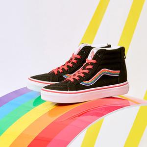Vans范斯童鞋 中大童Sk8-Hi板鞋 Rainbow高帮后拉链儿童官方正品