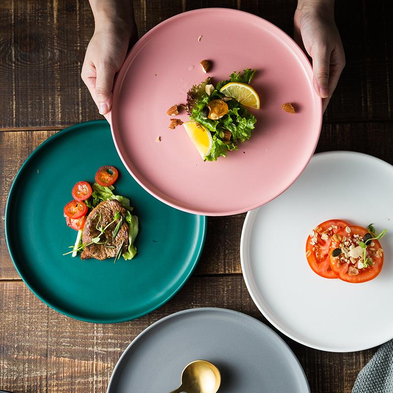 北欧陶瓷西餐盘牛排盘早餐盘家用白色盘子创意餐具网红沙拉盘碟子