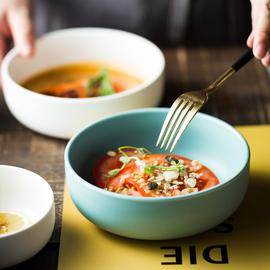 北欧吃饭小碗家用日式面碗汤碗6英寸直口圆碗单个陶瓷碗西餐餐具