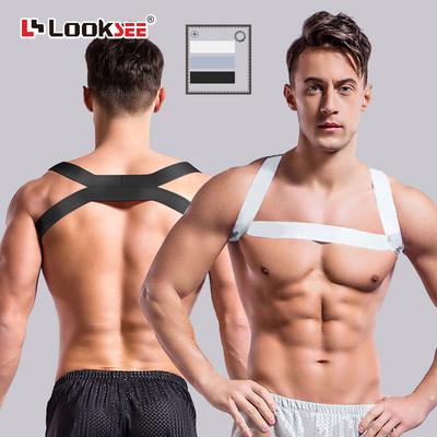 显大胸带肌肉男士健身性感纯黑白趴跳舞蹈表演装饰吊带背心束肩带