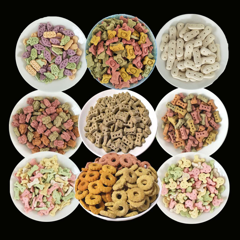 Pet food dog snack small steamed bread biscuit dog heart dog milk flavor color small steamed bread 500g bulk biscuit