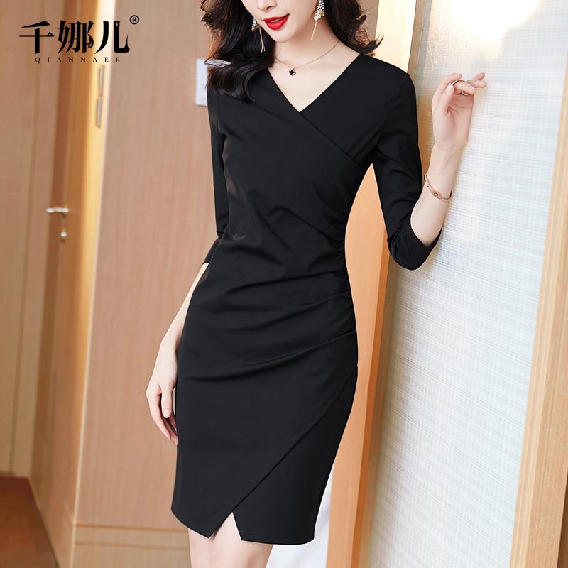 黑色包臀开叉连衣裙女春装2021新款小黑裙V领修身气质显瘦一步裙