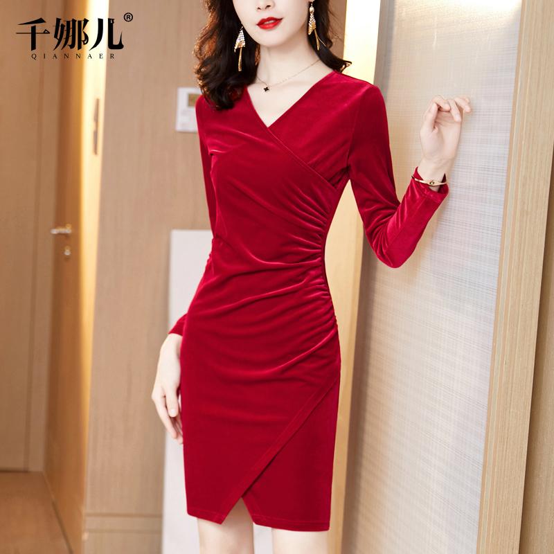 红色金丝绒连衣裙秋冬装2020新款气质显瘦V领包臀年会礼服女裙子
