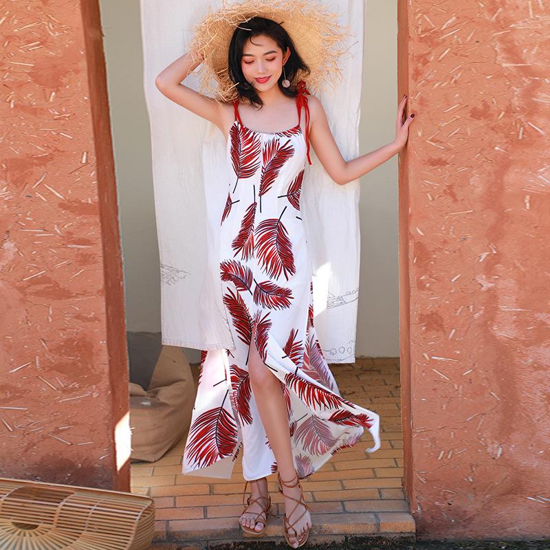 沙滩裙女海边渡假巴厘岛显瘦马尔代夫普吉岛长裙露背吊带连衣裙夏10-22新券