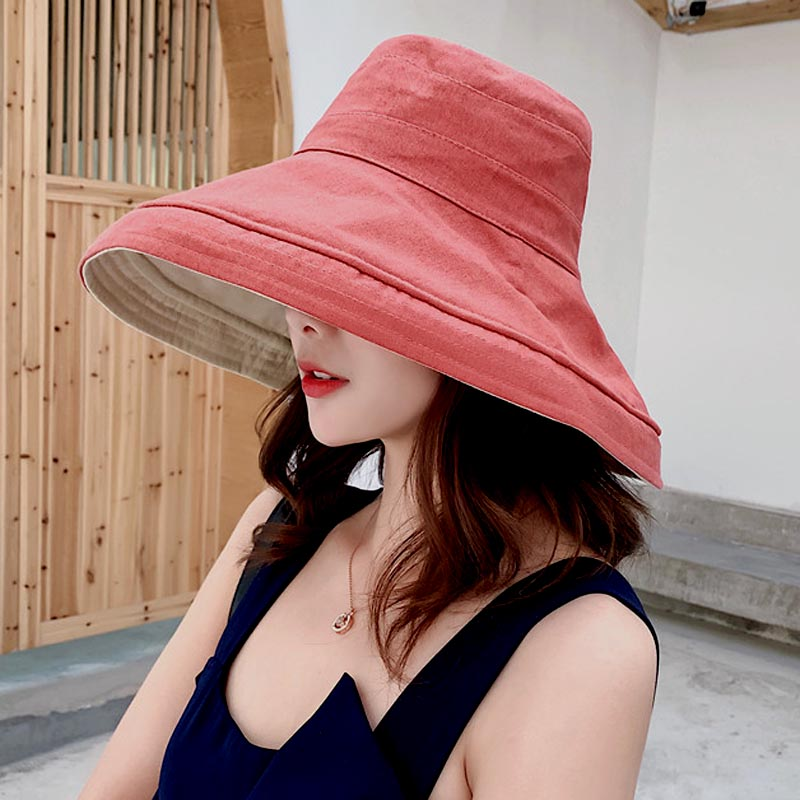 Fishermans hat with small face, sunshade and tide brand, female pink, front and back, sun proof large brim canvas sun hat