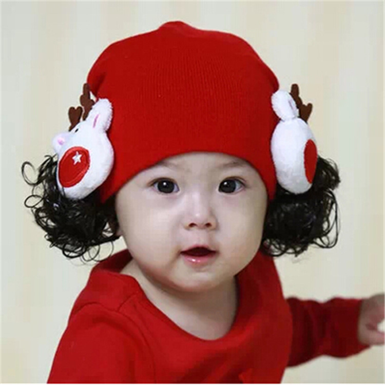 Spring and autumn winter 1-2-3-year-old girls wool hat warm cap wig hat cute Super Cute Princess Hat fashion