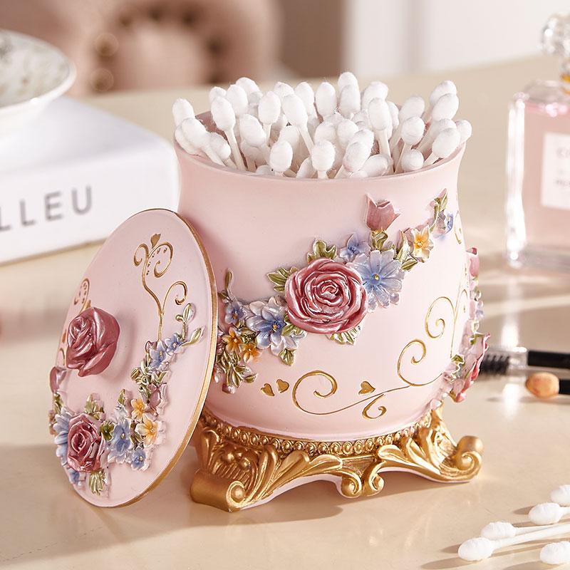 家用棉签盒欧式玫瑰化妆棉收纳盒个性创意时尚带盖牙签筒新婚礼品